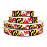 Route One Apparel | Maryland Flag Decorative Ribbon (100 Yards, 1/2 Inch Ribbon)