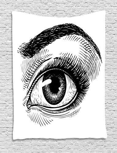 Ambesonne Eyeball Tapestry, Female Eye Makeup Themed Artwork Sketch Illustration Vintage Design, Wall Hanging for Bedroom Living Room Dorm, 60