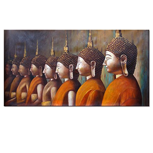 Thai Buddha Picture with Frame,Golden Sash Buddhas Canvas Wall Art Prints Decor,Ready Hanging On by Visual Art