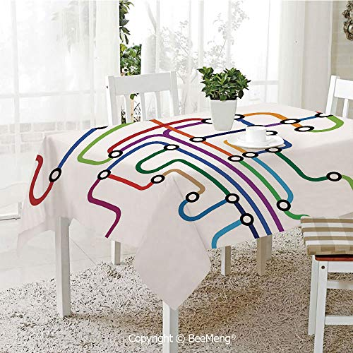 (BeeMeng Dining Kitchen Polyester dust-Proof Table Cover,Map,Colorful Abstract Subway Map Lines and Dots Navigation Guide Modern Underground Railway Decorative,Multicolor,Rectangular,59 x 59)