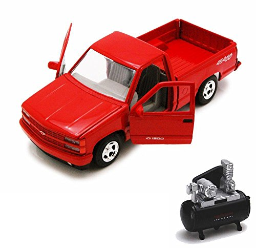 Pickup 454ss (Motor Max Diecast Car & Air Compressor Package - 1992 Chevy 454SS Pick Up truck, Red 73203AC - 1/24 Scale Diecast Model Toy Car w/Air Compressor)