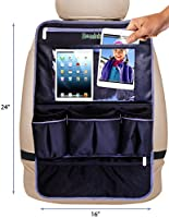 "Hominize Backseat Organizer for Car with 17"" Leather Touch Screen Tablet Holder - Heavy Duty Waterproof Back Seat Protector / Kick Mat for Kids & Babies - Perfect Baby Shower Gift - 10 Year Warranty !"