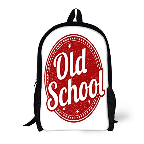Pinbeam Backpack Travel Daypack Classic Old School Rubber Stamp on Advertisment Button Waterproof School Bag