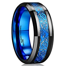 King Will 8mm Black Tungsten Ring Blue Celtic Dragon Inlay Comfort Fit Wedding Band Engagement Ring for Men Women