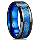 King Will DRAGON Mens Black Tungsten Carbide Ring 8mm Blue Celtic Dragon Wedding Band Comfort Fit High Polished(10.5)