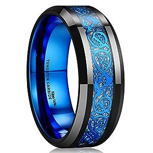 Best Epic Trends 51vWALMzLoL._SS300_ King Will DRAGON Men Tungsten Carbide Ring 8mm Silver/Blue/Black Celtic Dragon Wedding Band Polish Finish