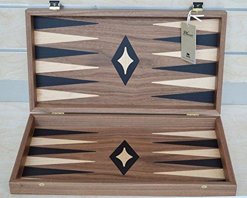 Manopoulos Walnut Wood Backgammon Set - Handmade in Greece