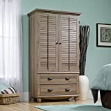 Armoire - Salt Oak, Brings Natural Style to The Bedroom, The Blind-Style Doors Open to a Large Cubby Space, One Stationary Shellf, and a Garment Rod, Feature Soft-Close Metal Runners