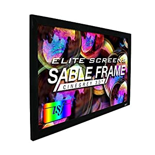 Elite Screens Sable Frame CineGrey 3D, 100-inch Diagonal 16:9, 8K 4K Ultra HD Ready Ceiling and Ambient Light Rejecting Fixed Frame Projector Screen, CineGrey 3D Projection Material, ER100DHD3 (B00YJG4EF8) | Amazon price tracker / tracking, Amazon price history charts, Amazon price watches, Amazon price drop alerts