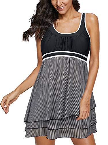 Durio Tankini Swimsuit Two Piece Swimsuits for Women Plus Size Womens Bathing Suits Swimwear Tummy Control Swimdress Black Stripe X-Large (fits Like US 10-12) ()
