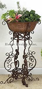 "Wrought Iron SCROLLWORK Floor Planter Flower Pot Holder Large 30"" Outdoor Patio"
