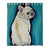 LiFei Business White French Bulldog Gaming mouse Custom shower curtain 60''(W) x 72''(H) (12 Holes)