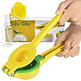 Ado Glo Lemon Squeezer - Heavy Duty Metal Lime Juicer - Manual Citrus Press with Lemon Sprayer & Small Funnel (Yellow)