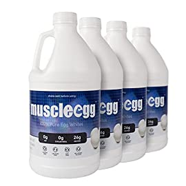 100% liquid egg whites (4 half gallons) 1 100% pure liquid egg whites pasteurized - samonella free 26g of protein per cup (8oz)
