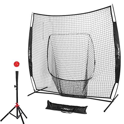 Pinty Baseball and Softball Practice Net 7'×7' Portable Hitting Batting Training Net with Carry Bag & Metal Frame + Baseball Softball Batting Tee (Baseball Net with Batting Tee) (Black)