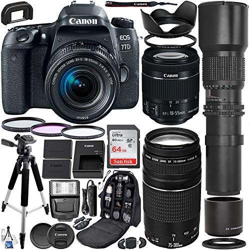 Canon EOS 77D DSLR Camera with 18-55mm & 75-300mm Canon Lenses & 500mm Lens with 2X Teleconverter (1000mm) & Premium Accessory Bundle - Includes: SanDisk Ultra 64GB SDXC Card & More