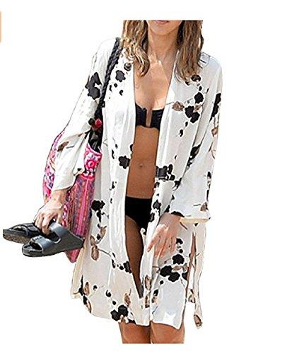 (NFASHIONSO Women's Fashion Geometry Print Cover ups Tunic Kimono Cardigan Shawl Black and White)