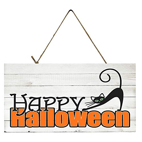 YANNN Black Cat Happy Halloween Printed Wood Sign Plaque - 6x12 inch (Happy Halloween Plaque)