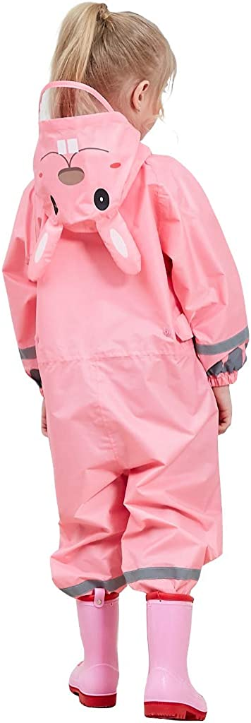 Children Coverall Rainwear All-in-One Rain Jackets Reusable Rain Coat Slicker Windproof Hooded for Sports Camping Traveling Outdoors Park Boys Girls Zilee Kids Rainsuit Waterproof Raincoat Jumpsuit