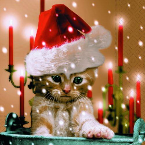 4 Servietten ~ Christmas Morning Tiere am Fenster Weihnachten Serviettentechnik