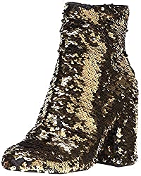 Women's Closed Toe Gold Sequin Boots