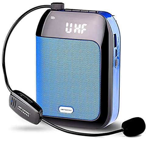 Aporo T9 UHF Wireless Smart Portable Voice Amplifiere LoudSpeaker Support TF Card/MP3/U disk/Aux Input for Teachers Outdoor.Activity Host,Training (Blue - T9 Fm Radio