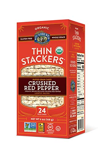 Lundberg Thin Stackers, Crushed Red Pepper, 6 Ounce (Pack of 6), Organic (Red Pepper Crackers)