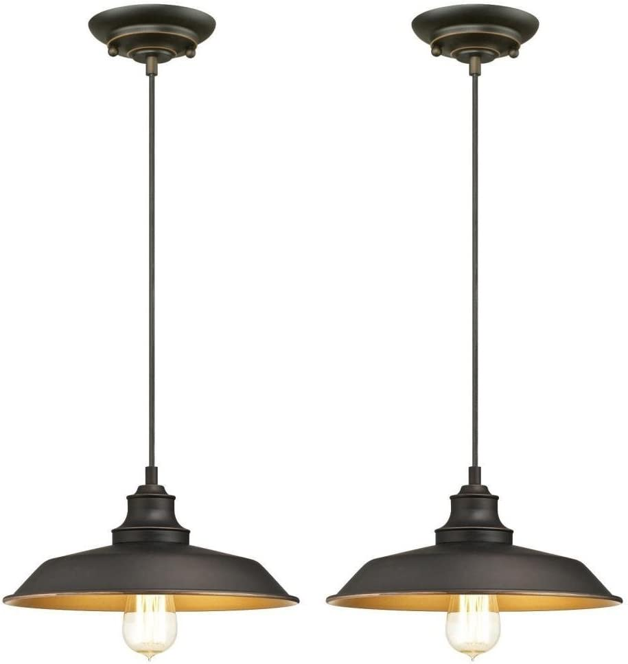 Ciata Lighting Iron Hill One-Light Indoor Pendant, Oil Rubbed Bronze Finish with Highlights Industrial Iron Hill One-Light Indoor Pendant – 2 Pack 2 Pack