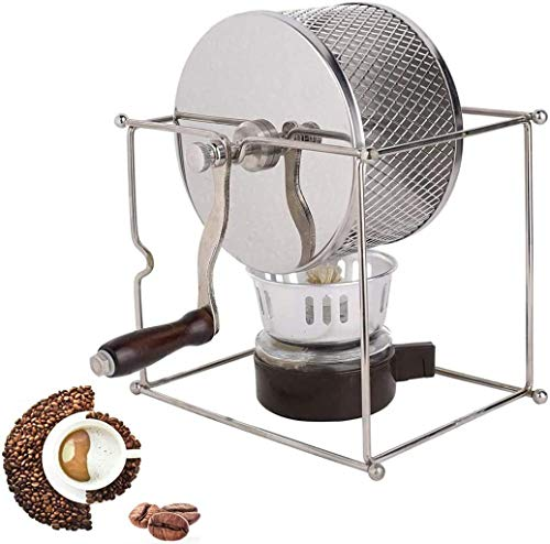 ZWHDS Hand Operated Non-Electric Home Coffee Bean Roaster, DIY manual household hand roasting machine, coffee beans roasting machine small stainless steel, roller roaster (Color : Silver)
