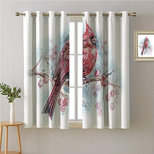 Jinguizi Cardinal Grommets Curtain for Kitchen Window,Red Bird on a Branch with Holly Berries Perching Avian Animal Hand Drawn Design,Darkening Darkening Curtains,72W x 63L