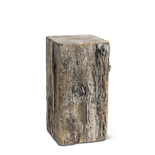 American Chateau Grey Cement Medium Square Log Pot Planter Pedestal 15