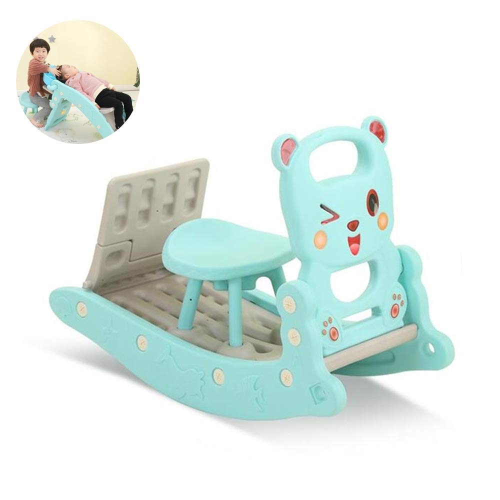 PNFP Children's Rocking Horse Slide and Shampoo Bed Combination Kids Indoor Outdoor Slide Garden Play Area,Suitable for 1-6 Years Old Baby (Color : Blue) by PNFP