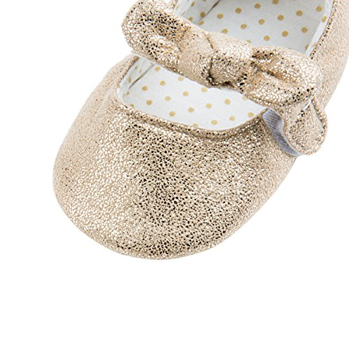 Dicry Baby Girls Soft Sole Non-Slip Sparkly Shoes Gold Velcro Buckle Mary Jane Shoes with Sequins Bowknot for 6-12 Months Infant - Image 4
