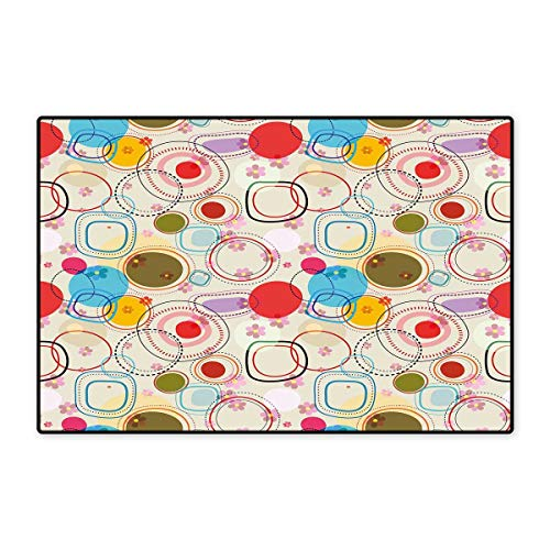 - Floral Door Mat Small Rug Abstract Shapes Circles and Squares on Soft Colored Background with Flowers Image Bath Mat for Bathroom Mat 16