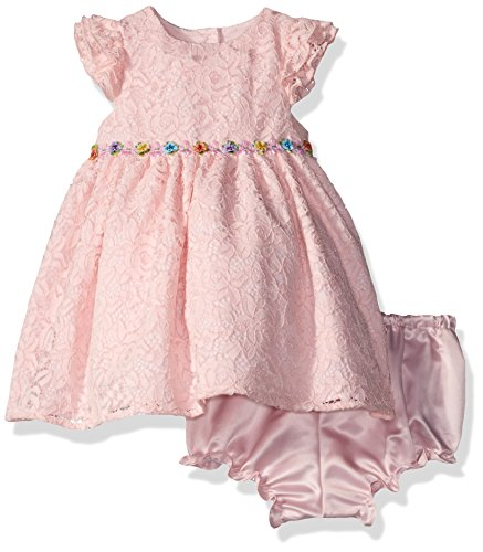 Laura Ashley London Baby Girls' Flutter Sleeve Party Dress, Pink, (Flutter Smocked Dress)