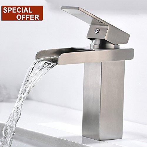 Lead-free Best Comercial Modern One Hole Single Handle Lavatory Vanity Brushed Nickel Waterfall Bathroom Sink Faucet,Bathroom Faucets Spout Simple Mount -
