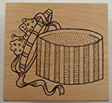 Great Impressions Victorian Hat Box With Ribbon And Bow Wooden Rubber Stamp