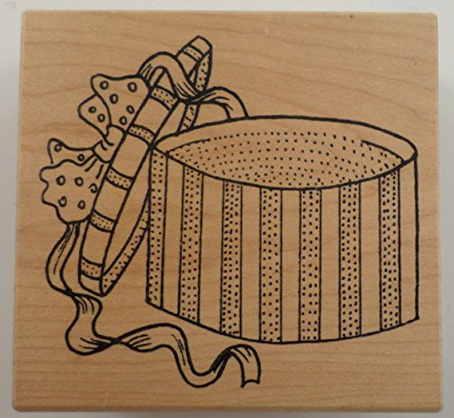 (Great Impressions Victorian Hat Box With Ribbon And Bow Wooden Rubber Stamp )