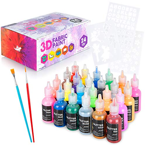 Ez Journey- Permanent 3D Fabric Paint Set 24 Colors Brushes & Stencils: Puffy Paints with Glitter and Glow Colors- Puff Paint Kit for Decorating Shirts, Denim, Textiles, Plastic, Glass and Wood