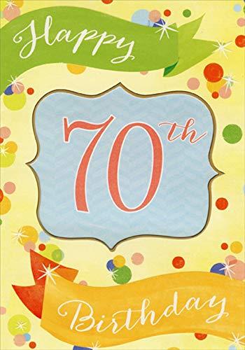 0th Inside Die Cut Window on Light Yellow Background Age 70 / 70th Birthday Card ()