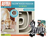 Animal Planet Large Slow Feed Dog Bowl | Interactive Bloat stop Bowl | Promotes Digestive Health | Suitable for Big Dogs | Non skid design - with Zebra Plush Chew Toy Bundle
