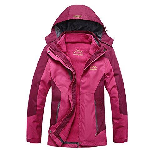 Modern Fantasy Womens Outdoor 3 in 1 Detachable Warm Inside Multifunction Jacket Size US Rose Red - Dunedin Shopping