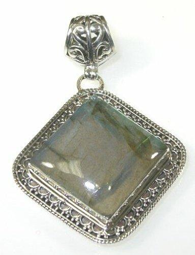 Labradorite & Sterling Silver Freeform Pendant - Freeform Labradorite Pendant
