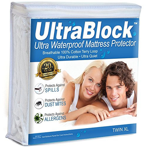 UltraBlock Twin XL Waterproof Mattress Protector - Premium Soft Cotton Terry Cover (Twin Bed Waterproof Liner compare prices)