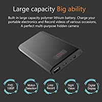 KAMRE HD 1080P 10000mAh Portable Power Bank Camera Nanny Cam with Digital Display, Perfect Indoor Security Camera for Home and Office, Black