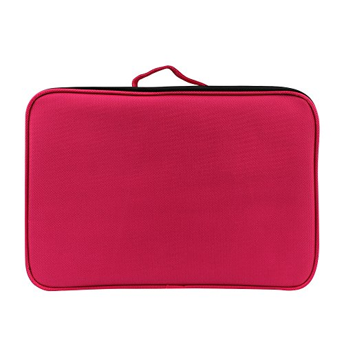 solid Layers Makeup Bag Cosmetic Capacity Toiletry Bag Travel Waterproof Large Brush Red Yuan Colors 3 Compartment EHq6wd0