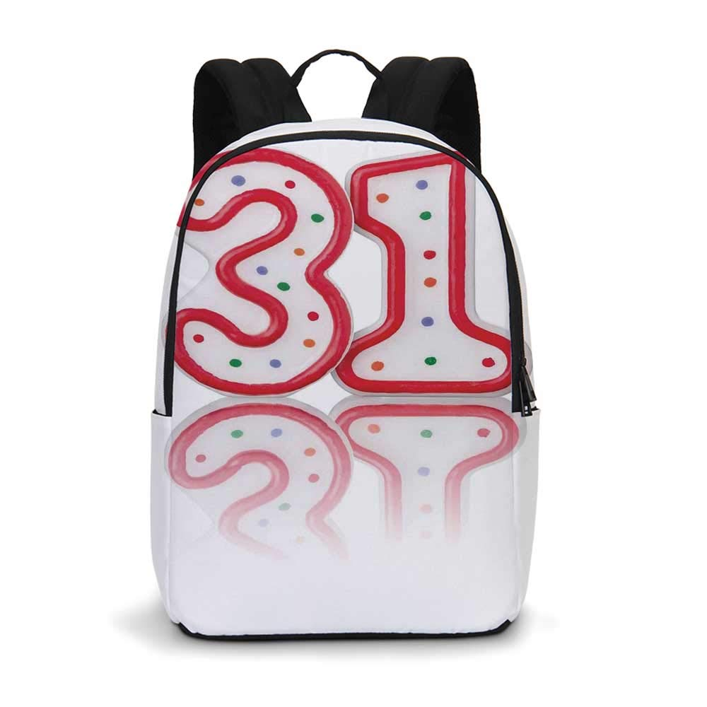 31st Birthday Decorations Modern simple Backpack,Red Number Thity One Candles with Reflection on White Background for school,11.8''L x 5.5''W x 18.1''H