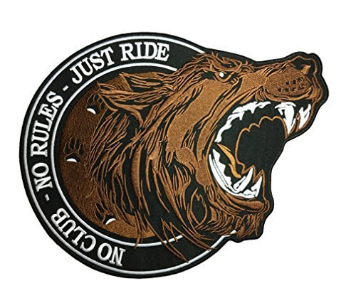 Patch The Pirate Club - [Large Size] Papapatch No Club No Rules Just Ride Lone Wolf Biker Rider Motorcycle Jacket Vest Costume Embroidered Sewing Iron on Patch (IRON-NO-CLUB-WOLF-LARGE)