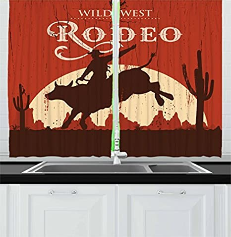Ambesonne Vintage Kitchen Curtains Rodeo Cowboy Riding Bull Wooden Old Sign Western Style Wilderness At Sunset Image Window Drapes 2 Panel Set For Kitchen Cafe Decor 55 X 39 Redwood Orange