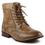 Metrocharm MET525-13 Men's Lace Up Perforated Wing Tip Formal Dress Casual Fashion Boots (13, Brown)